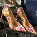 Phenkang mujeres satén de seda señaló 8.5 cm thin tacones altos fina flor zapatos de las mujeres solteras bombas OL zapatos de tacón EE. UU. size8.5