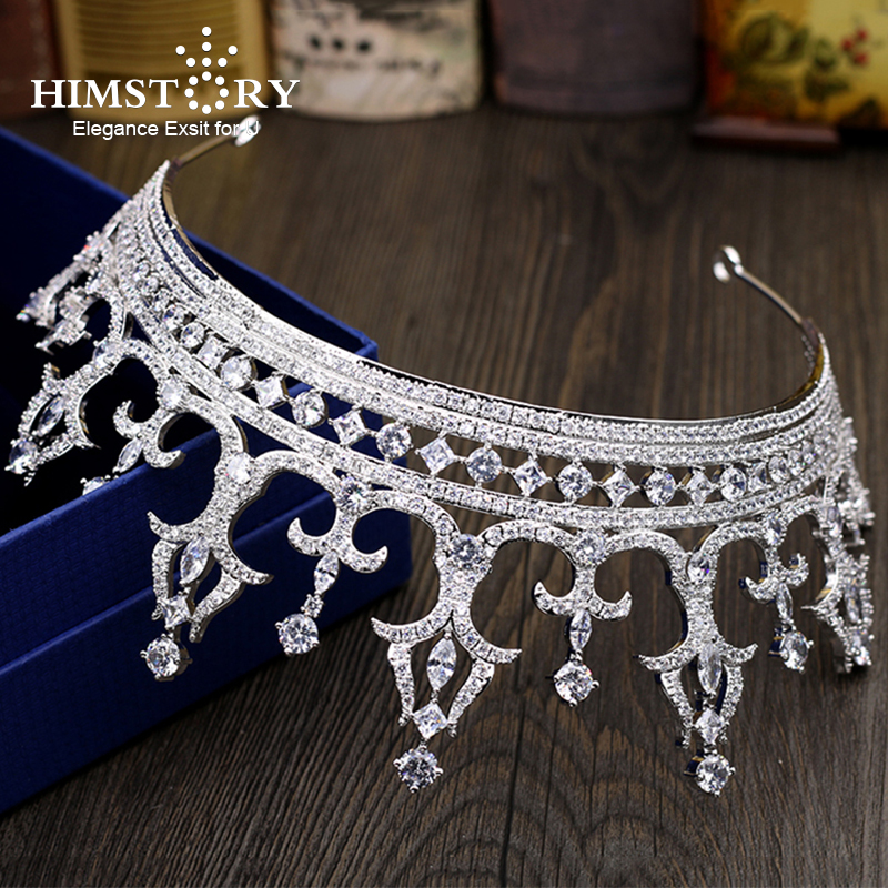 Himstory Royal Luxurious Oversize Full CZ Princess Hai Crown Queen Style Wedding Bride Dinner Banquet Dressing Hair Accessories