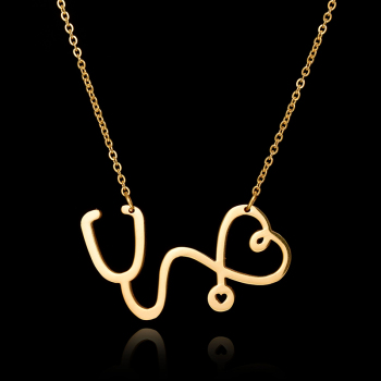 2017 Fashion Medical Jewelry Maxi Necklaces & Pendants Stainless Steel Chain Silver Gold Stethoscope Necklace for Nurse Doctor