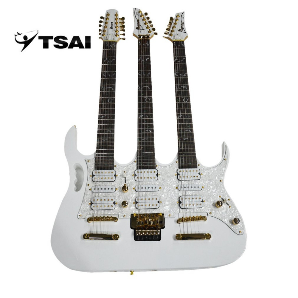 Electric Guitar Three Necks TSAI Basswood Body Rose Wood Fingerboard Guitar With Double Single Double Pickup Popular Newest belcat bass pickup 5 string humbucker double coil pickup guitar parts accessories black