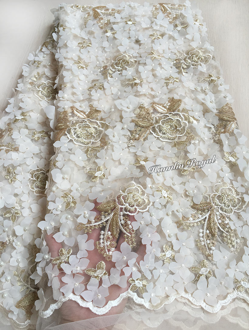 Ice Cream Gold soft french lace African Tulle lace fabric with Allover Appliques beads sequins high