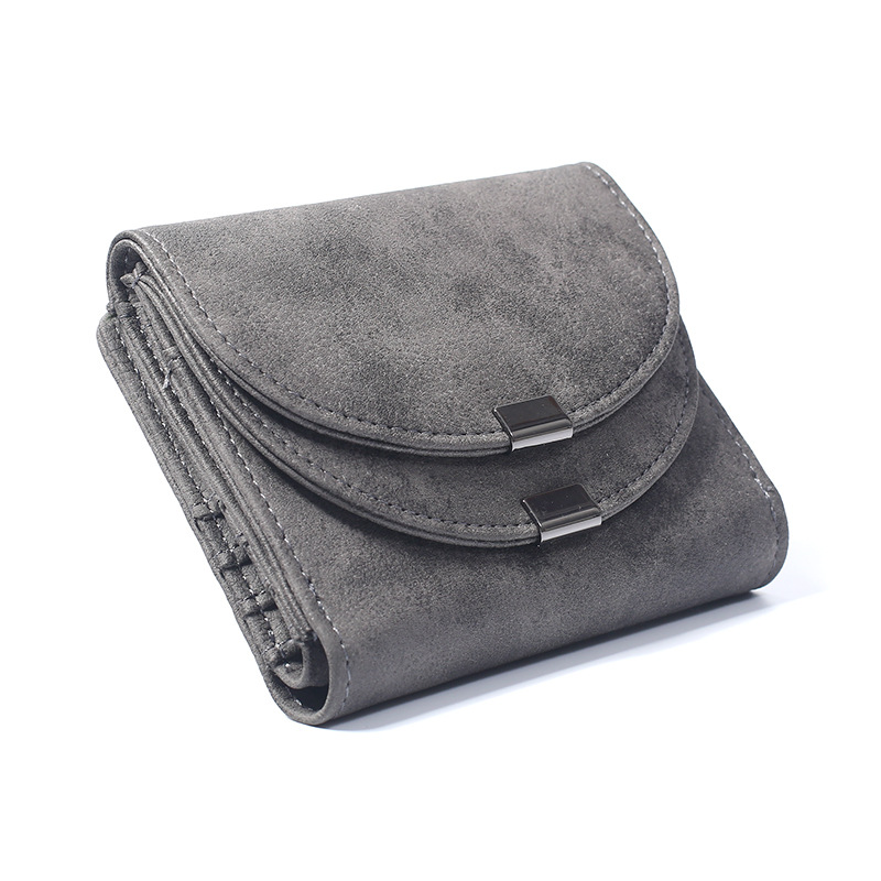 Brand New 2017 Fashion Vintage Double Cover High-End Matte Leather Women Bag Short Design Female Purse 2 Folds Money Clip
