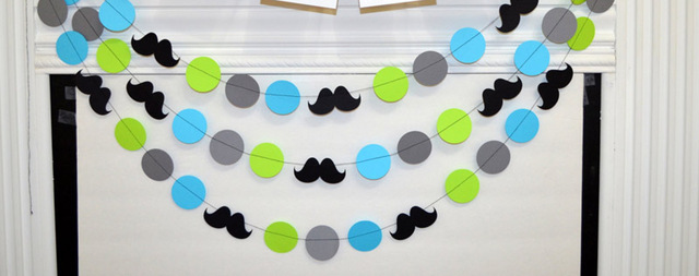 Free Shipping mustache first birthday banner Little man birthday