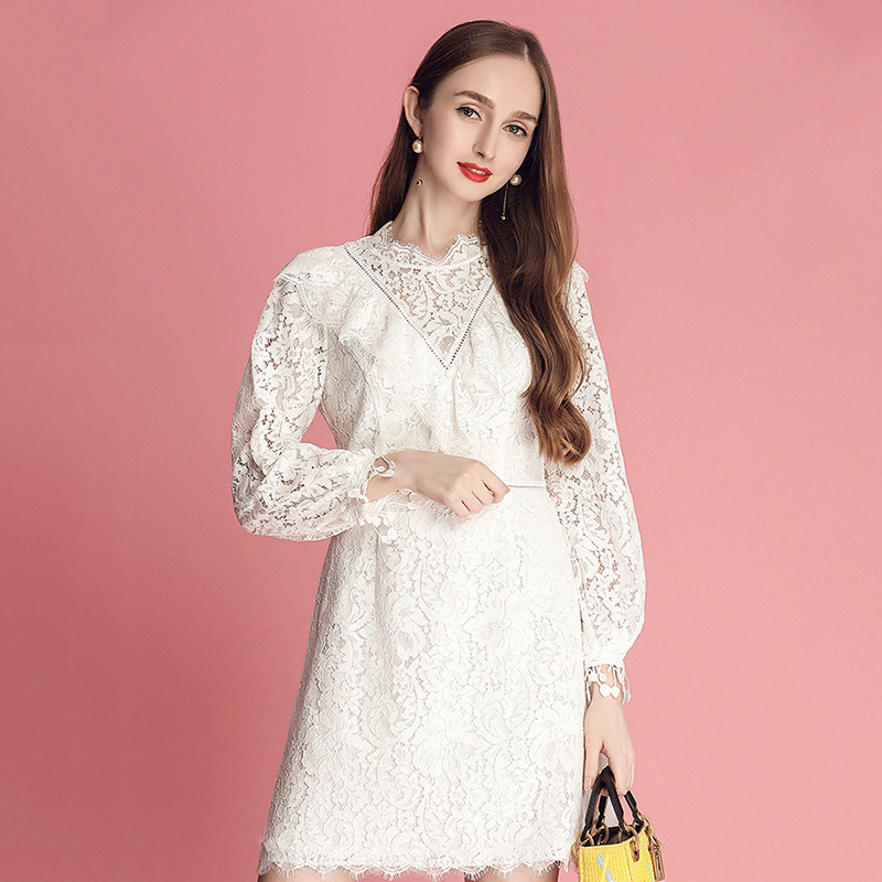 Fashion Sexy Hollow Out Lace Dress Women High Waist Long Sleeve Ruffle Party Dress 2019 New Collection Elegant Women Dresses