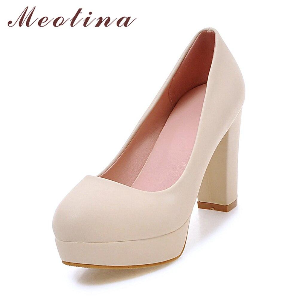 meotina women shoes high heels platform pumps thick high. Black Bedroom Furniture Sets. Home Design Ideas