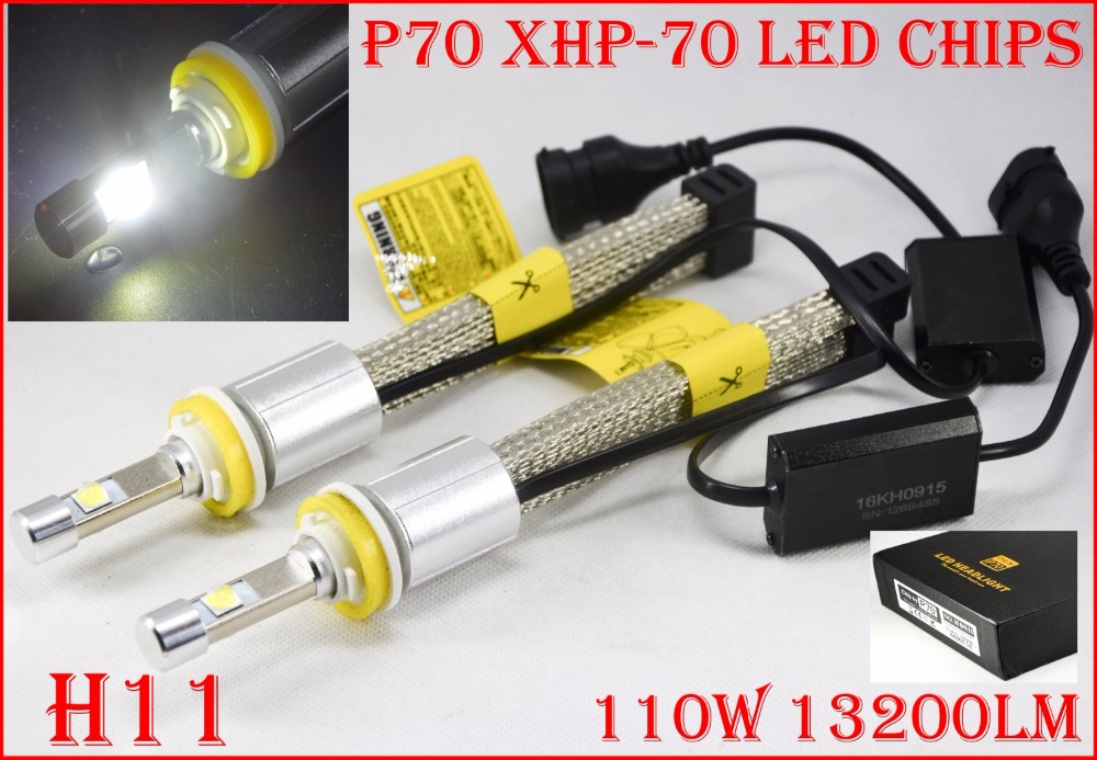 1 Set H8 H9 H11 H16(JP) 110W 13200LM P70 LED Headlight XHP-70 4LED Chip Super Bright Slim Conversion Kit Driving Fog 5000K 6000K