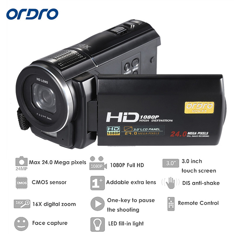 """ORDRO HDV-F5 1080P Digital Video Camera Max 24MP 16X Anti-shake 3.0"""" Touch Screen LCD Camcorder DV With Remote Controller 2"""