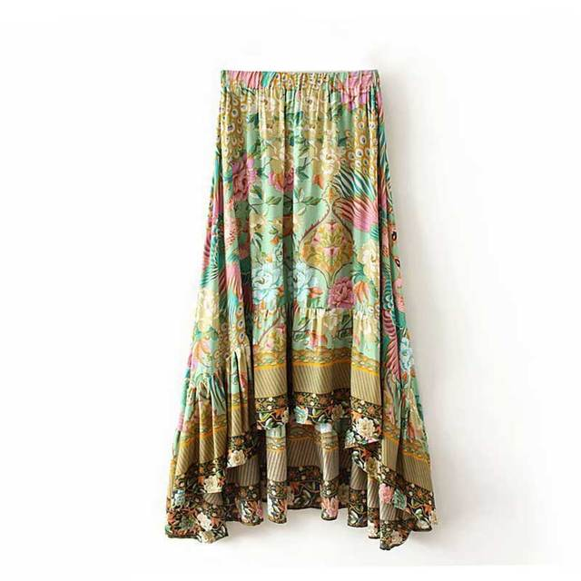 Us 22 04 37 Off Boho Inspired Flora Print Long Skirt Bohemian Style Gypsy Casual Beach Skirts 2018 Summer Hippie Women Female Faldas In