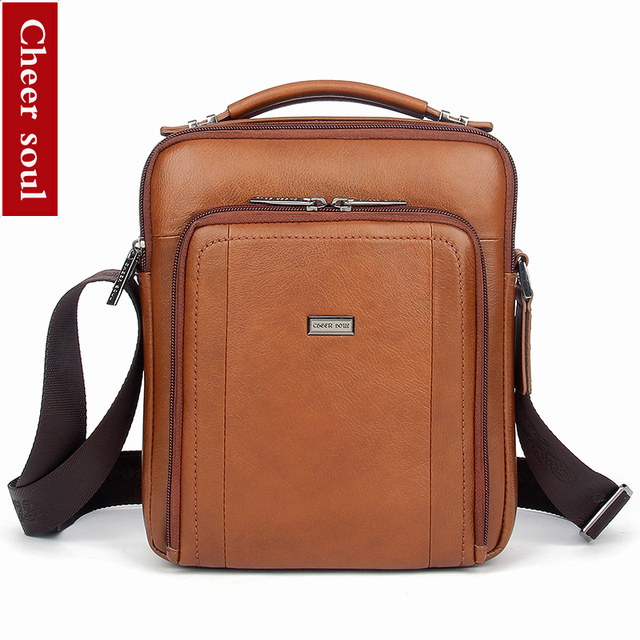 CHEER SOUL Genuine Leather Messenger Bag Fashion Men Shoulder Bags Small  iPad Tablet Handbags Male Business Crossbody Bags bolsa-in Crossbody Bags  from ... 3abea715549ce