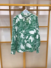 Women Shirt 2019 Autumn / Winter New Silk Cotton Women's Green/orange flower Print Shirt flower print shirt