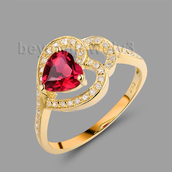 Romantic Heart Shape Ring 14Kt Yellow Gold 6mm Ruby Wedding Ring