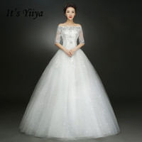 2017 Summer Real Photo Half Sleeves Boat Neck Wedding Dresses Cheap Red White Bride Gowns Custom