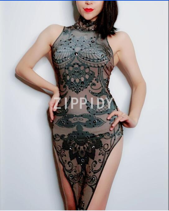 Mouse over to zoom in. Fashion Black Rhinestones Flowers Pattern Spandex Dress  Nightclub DJ Women Singer Show Dress Women s Birthday Party ... 661ad6a659f8