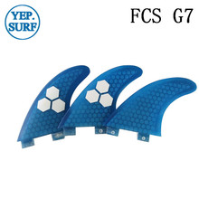 Surf Fins FCS G7 Fin Honeycomb Surfboard Fin Blue color surfing fin Quilhas thruster surf accessories new style carbonfiber orange carbon strip fcs ii surfboard fins thruster fin set 3 compatible m7 surf fin