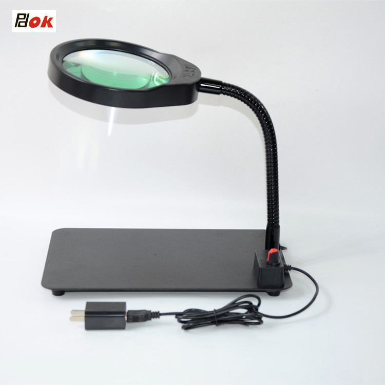 36 LED brightness adjustable magnifying glass USB desktop magnifier LED Lamps and 3X/5X Magnification Light With Cyan Glass 3x magnifying magnifier