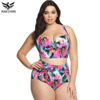 High Waist Swimsuit 2016 New Arrival Plus Size Women Swimwear Print Colorful Vintage Retro Fat Push