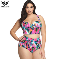 High Waist Swimsuit 2016 New Arrival Plus Size Women Swimwear Print Colorful Vintage Retro Fat Push