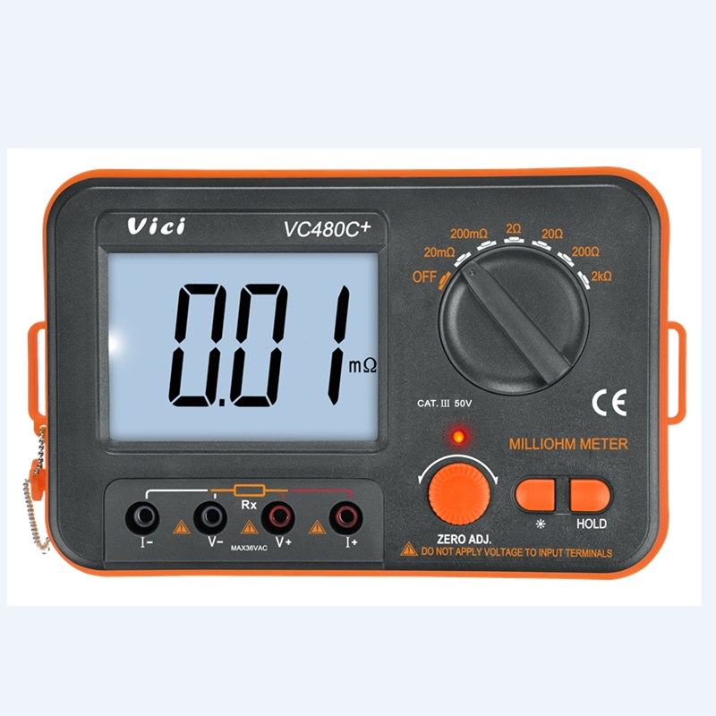 Digital Milliohm Meter VICI Brand 3 1 2 LCD Display 4 Wire Test Low Resistance Tester