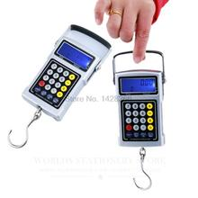 Max 50kg Electronic express scales portable spring scale +Clock+thermometer+Calculator+Valuation+Blue backlight+Tape