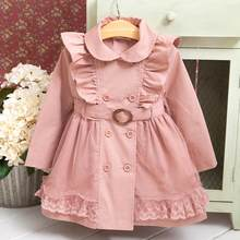 Baby Girls Trench Coats 2019 Spring New Cotton Ruffles Windbreaker Jacket Long Sleeve Toddler Children Outerwear Kids Coat Y628(China)