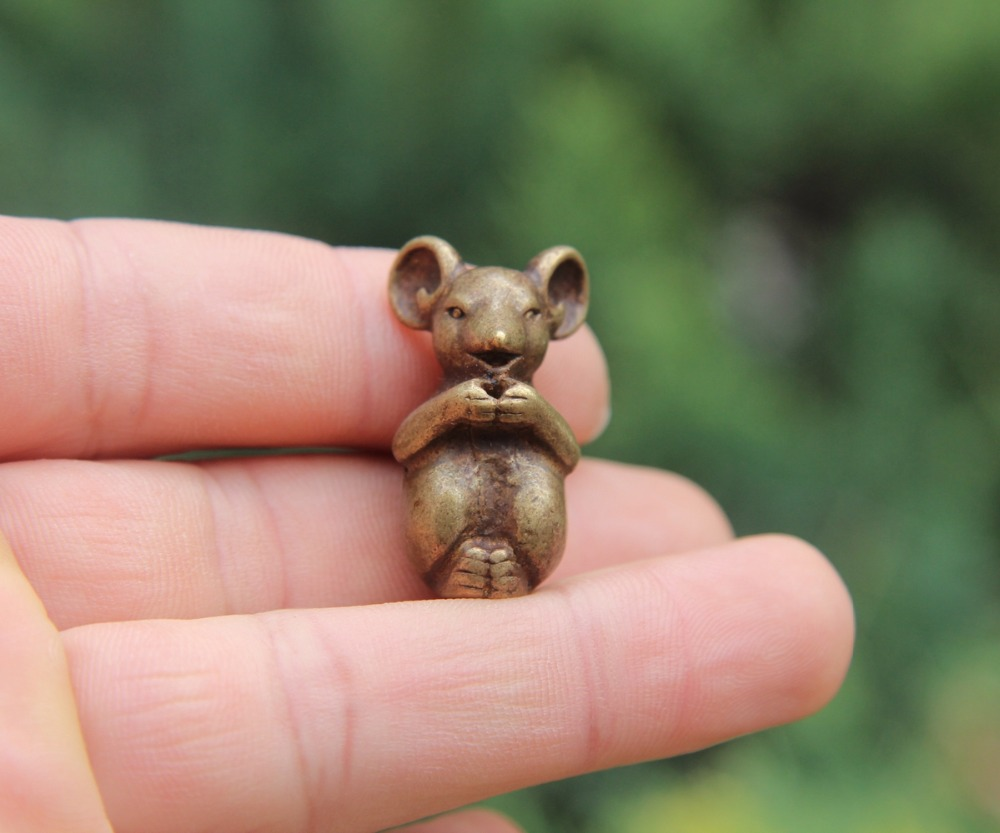 4.5 Cm Chinese 100/% Pure Bronze Zodiac Animal Amulet Beast Pig Hog Swine Statue
