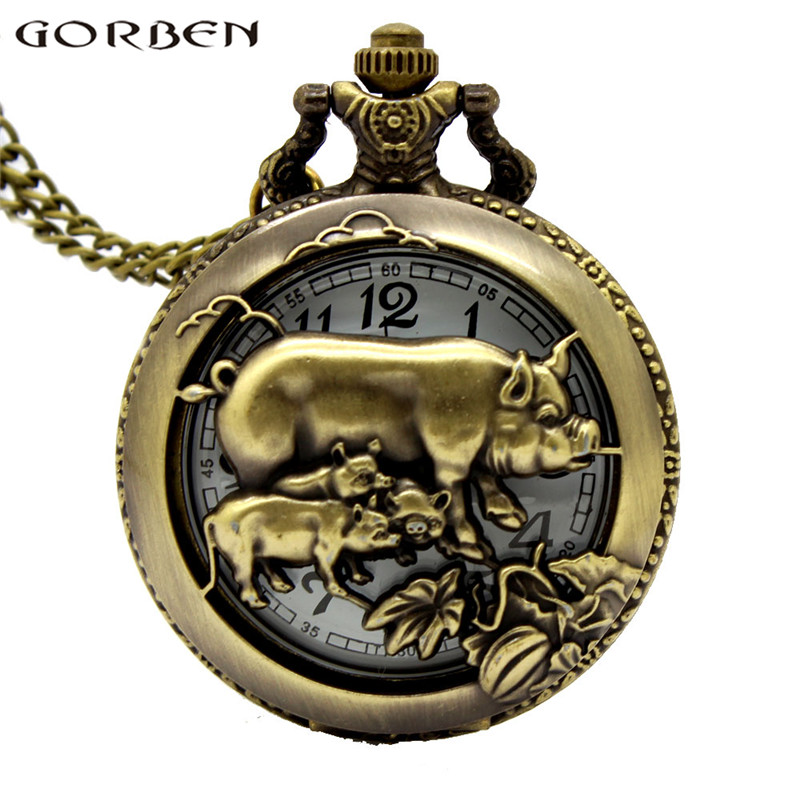 Chinese Zodiac Pig Hollow Quartz Pocket Watch Pendant Vinage Necklace Watch With Chain Steampunk Women Men Reloj De Bolsillo
