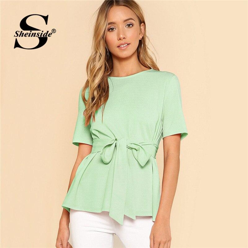 Sheinside Plain Belted Elegant Blouse Office Ladies Workwear Round Neck Short Sleeve Weekend Casual Top Women Summer Blouses
