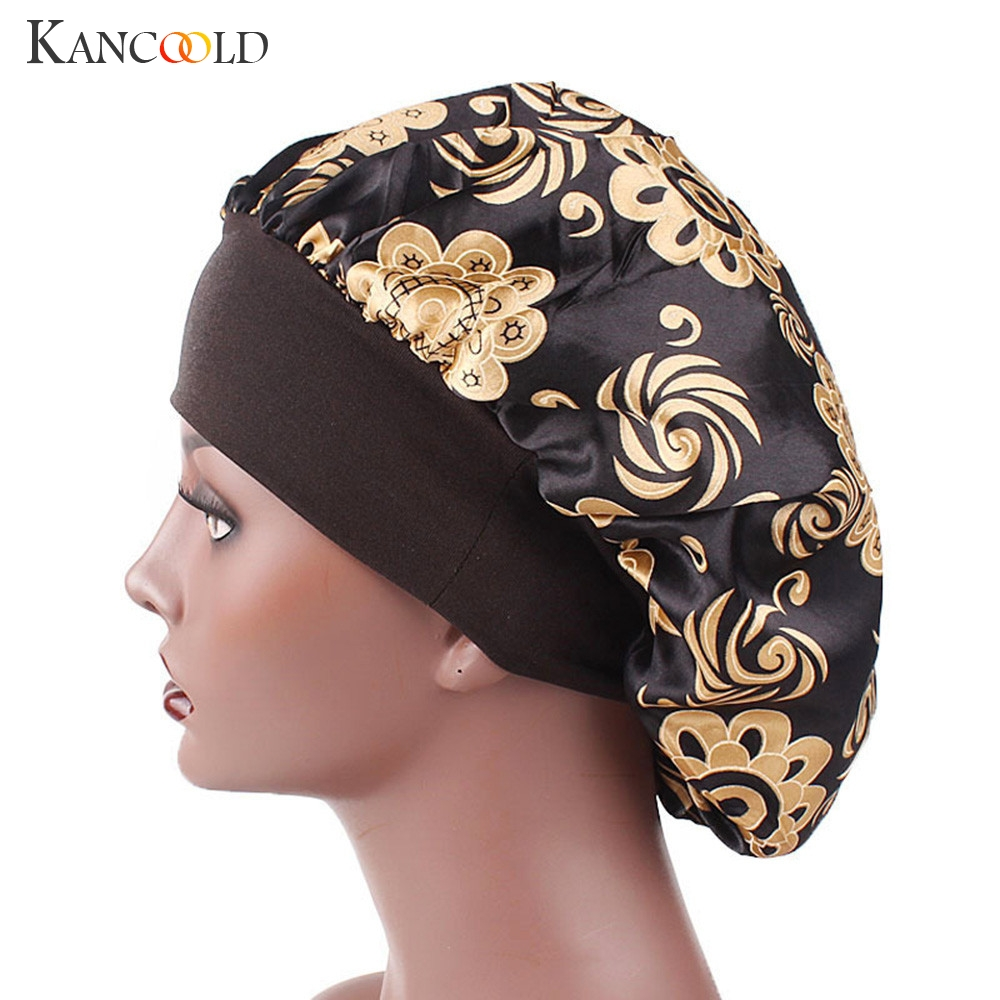 KANCOOLD Hat woman Satin Printed Wide-brimmed Hair Band Sleep Cap Chemotherapy Hat Hair Cap high quality hat woman 2018NOV15 headpiece