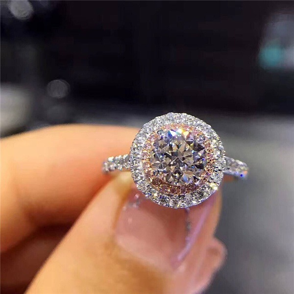 2020 New 925 Sterling Silver Round Holo Pink White Stone Engagement Ring For Women Wedding Finger Classic Brand Jewelry R5023