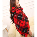 Winter Plaid Cashmere Women Scarves Thick Weave Female Shawl Super Long Thermal Neckerchief 5 Colors Acrylic Wrap