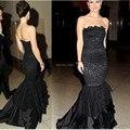 Новый дешевый элегантный черный кружева русалка длинные вечерние платья 2016 халат де вечер longué спинки без бретелек ну вечеринку платья VestidosSJ