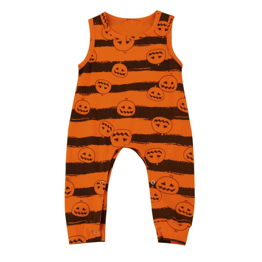 2017 Toddler Infant Baby Boy Girl Sleeveless Pumpkin Romper Jumpsuit Halloween Outfit L8104