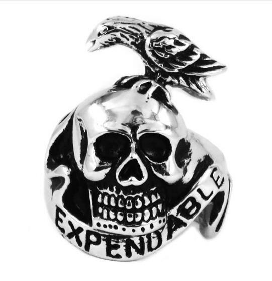 Wholesale Expendable Ring Stainless Steel Jewelry Trendy Bird On Skull Motor Biker Animal Ring For Men SWR0406B