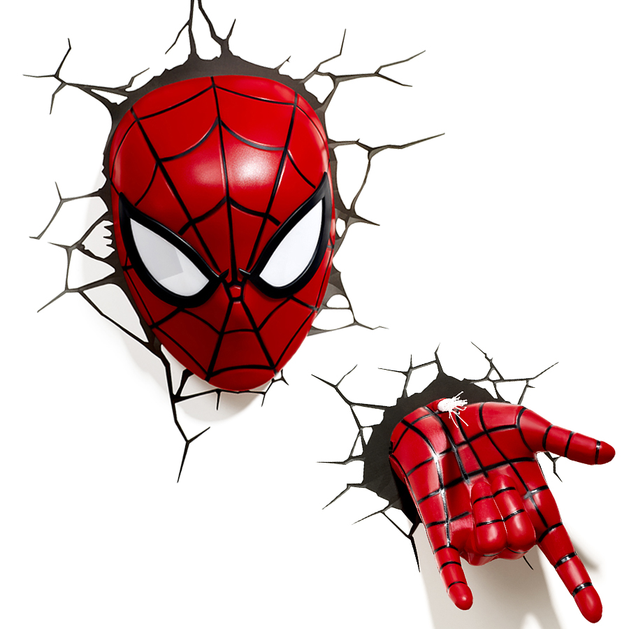 Creative Avengers Alliance Spiderman Shape 3D Night Lights LED Wall Lamps for Bedroom Decorative Lights Kid Gifts yimia creative 4 colors remote control led night lights hourglass night light wall lamp chandelier lights children baby s gifts