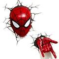 Vingadores Aliança criativa Forma Spiderman 3D Noite Luzes LED Luzes Decorativas Luzes de Lâmpadas De Parede para o Quarto Do Miúdo Presentes