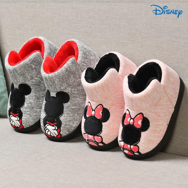 Disney 2018 Mickey Minnie Winter Children 'S Cotton Slipper Shoes Boys/Girls Indoor Slipper  Warming Home Toddler Baby Shoes