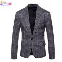 2019 Spring Men Blazer Jacket Plaid Single Button Cotton Blazer Slim Fit 4XL Autumn Tweed Smart Casual Suit Blazer