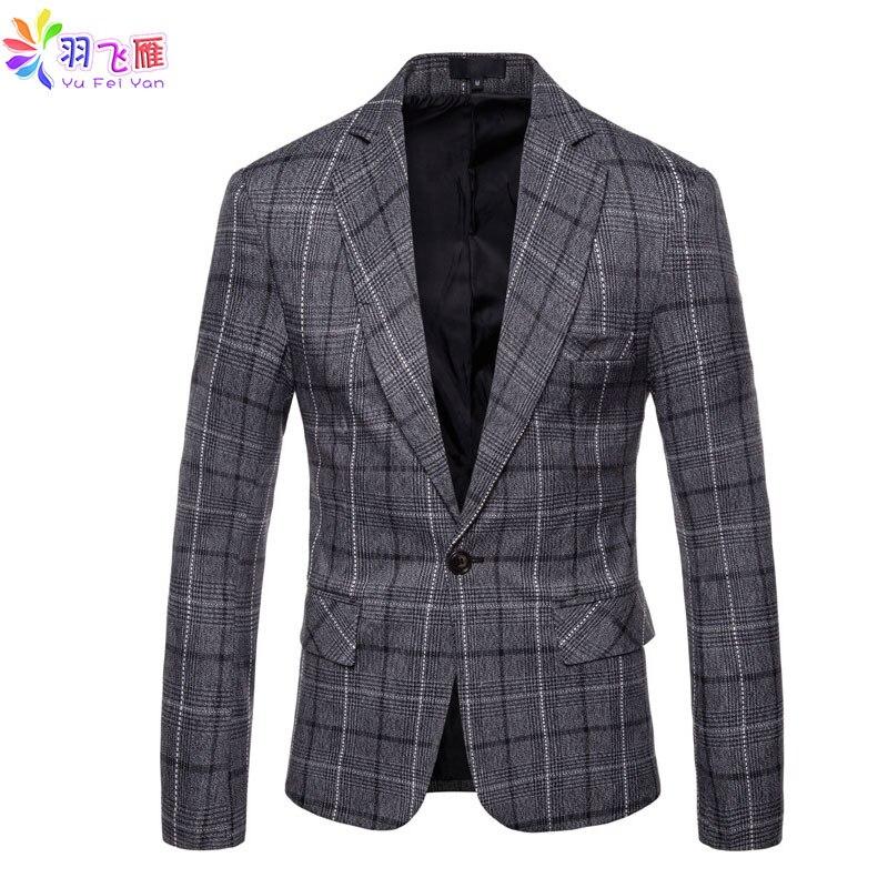 2019 printemps hommes Blazer veste Plaid simple bouton coton Blazer Slim Fit 4XL automne Tweed Smart costume décontracté Blazer