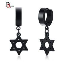 Мужские сережки star of david черные серьги из нержавеющей стали