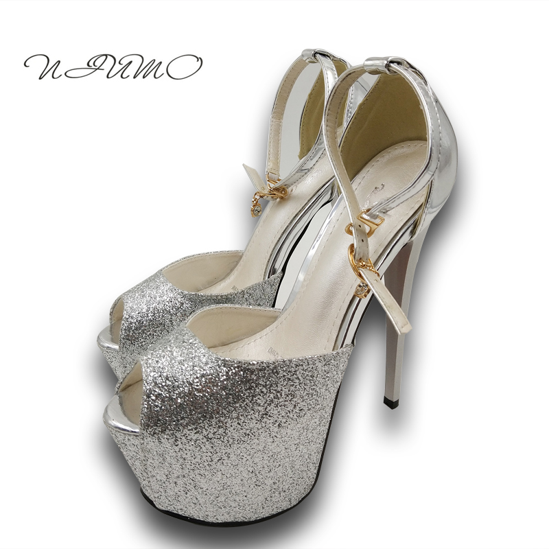 The new spring and summer sandals fish head sexy high heels 16cm sexy fine with ultra-high shoes with waterproof summer new pearl rhinestone sandals sexy nightclub fine with waterproof shoes 12cm fish head buckle sandals t