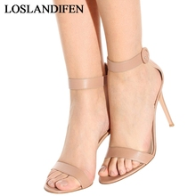 2018 Women Genuine Leather Sandals Fashion Open Toe Thin Heels Shoes Women Buckle Strap Summer Shoes High Heels Sandals TL-A0012 wetkiss wood high heels women summer sandals pointed toe footwear genuine leather sandals shoes new fashion office female shoes