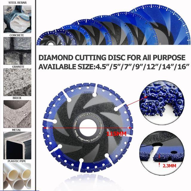 SHDIATOOL 1pc Vacuum Brazed Diamond Blade for All Purpose For stone iron steel Demolition Blade 1