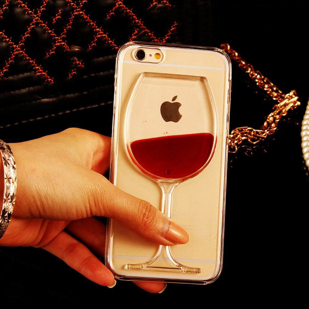 New Hot Sale Liquid Quicksand Red Wine Clear Transparent Phone font b Case b font hard