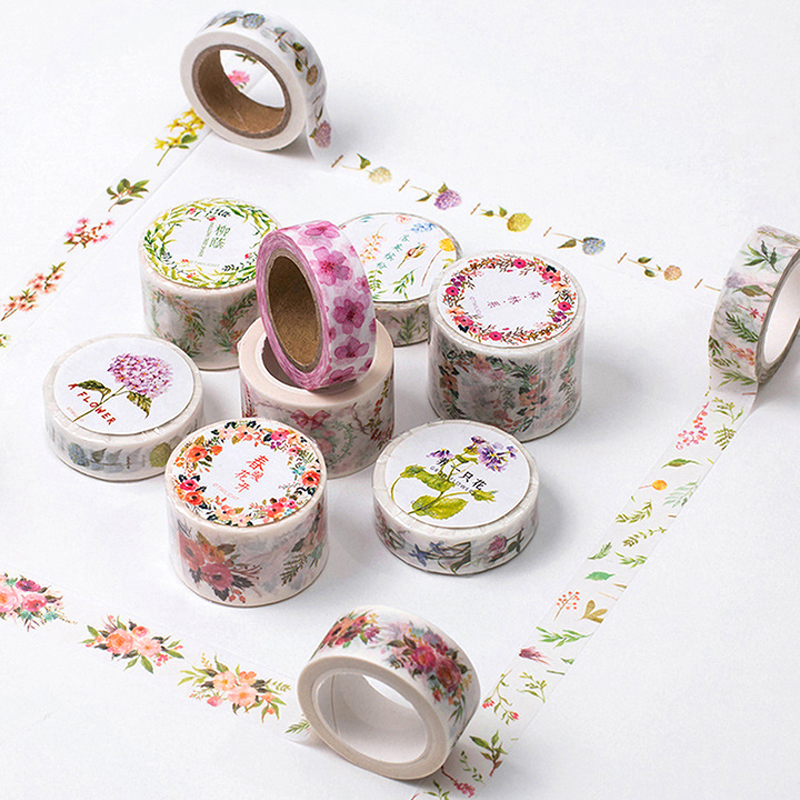 8M Flowers Decorative Washi Tape Adhesive Tape Stickers DIY Scrapbooking Masking Label Tape Stationery School Supplies Papelaria цена и фото