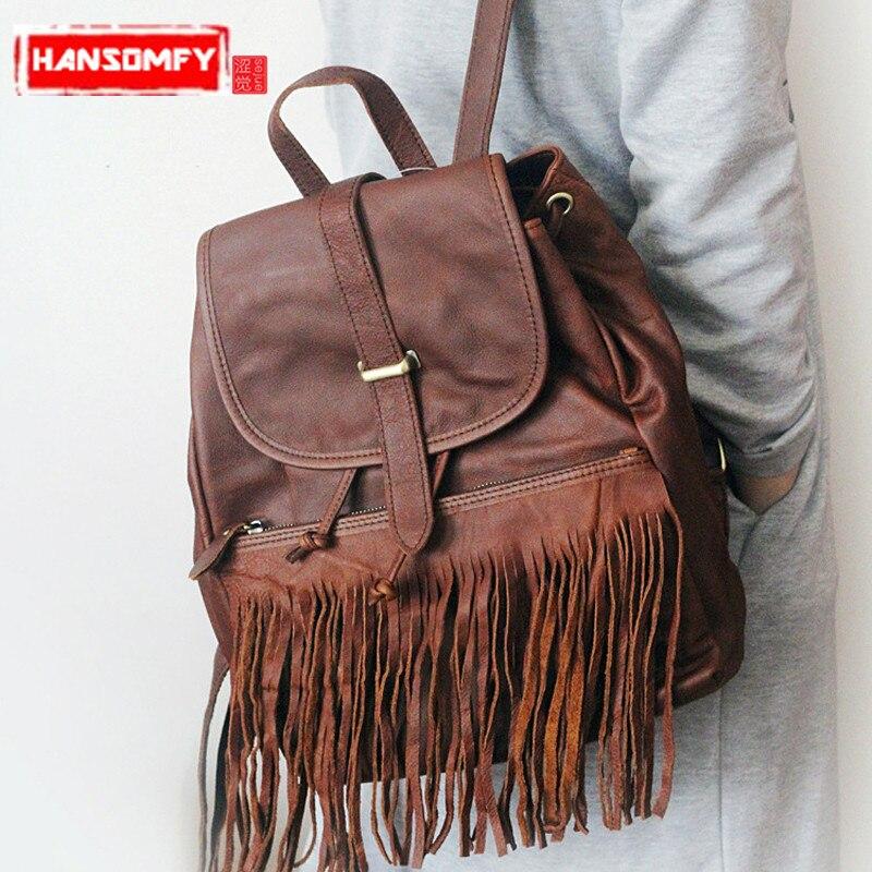 New Genuine leather Women backpacks luxury fashion soft leather Female shoulder tassel bag tralve backpacks luxury genuine leather shoulder