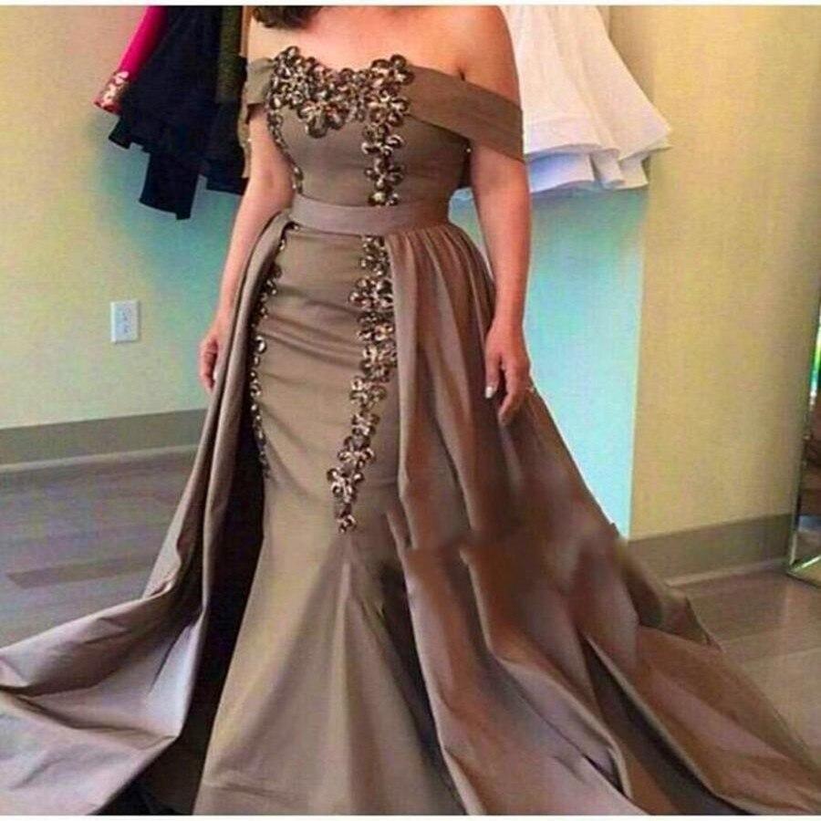 abendkleider elegant off shoulder mermaid prom dress removable skirt zipper  back beaded arabian prom dresses court train long