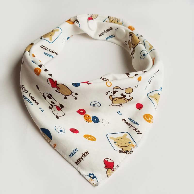 Baberos triángulo doble algodón Baberos 1 unids/lote Toalla de Saliva con estampado de dibujos animados para bebés y niñas delantal de alimentación baberos bandana de algodón