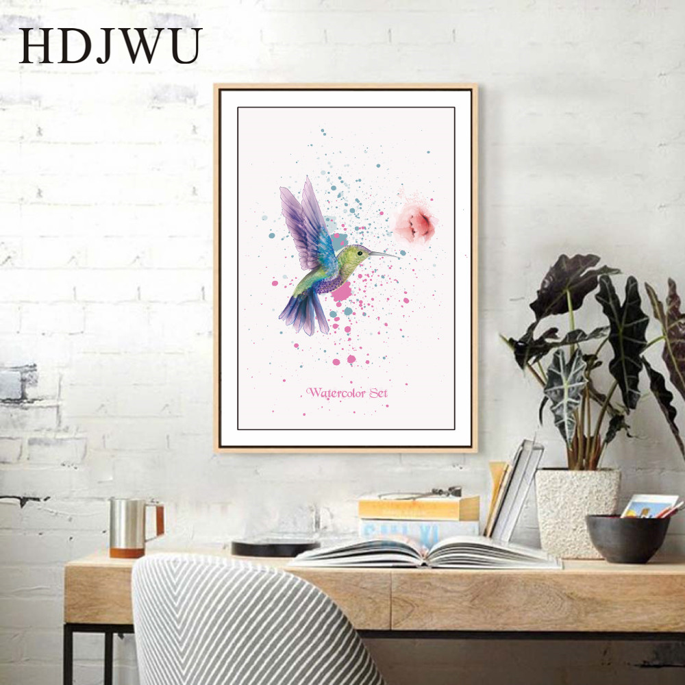 Nordic Painted Hummingbird Creativity Decor Painting Art Canvas Wall Printing Pictures for Living Room Aisle DJ225 in Painting Calligraphy from Home Garden