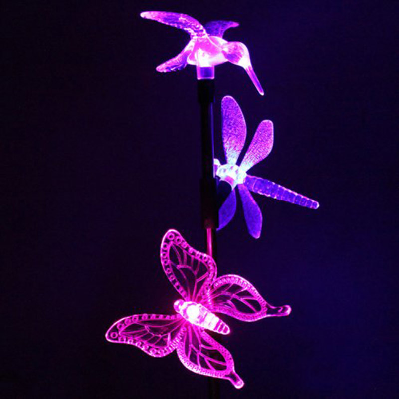 1pc/ 2pcs Solar Power Outdoor Garden LED Butterfly Dragonfly Hummingbird Lawn Lamp Party Christmas Decor Lights MAL999