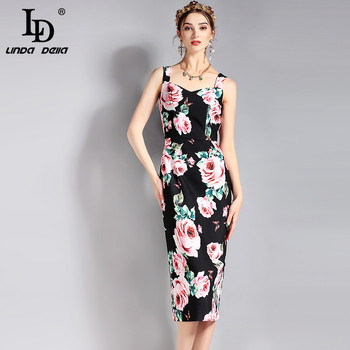 LD LINDA DELLA New 2018 Fashion Runway Designer Summer Dress Women's V-neck Sexy Rose Floral Printed Sheath Bodycon Dress